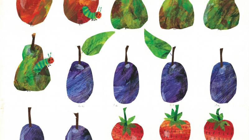 Color illustration of several varieties of apple.