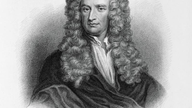 Black and white, drawn portrait of Sir Isaac Newton