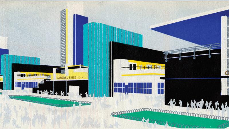 Stylized painting of the buildings at the Chicago Century of Progress Exposition.