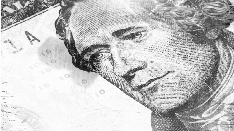 Hamilton as he appears on the five dollar bill