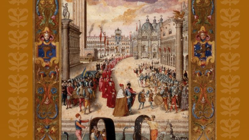 Book cover, showing an illustration of Saint Mark's Square in Renaissance Venice, filled with soldiers and noblemen