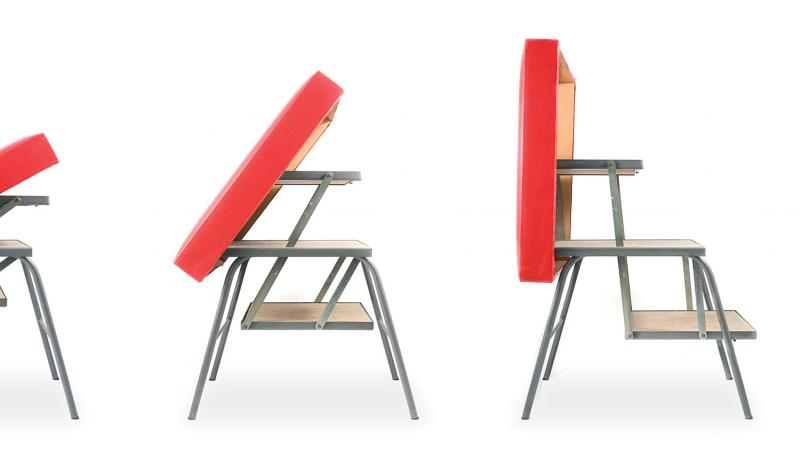 A step by step photo montage of a red plastic bench turning into a step stool
