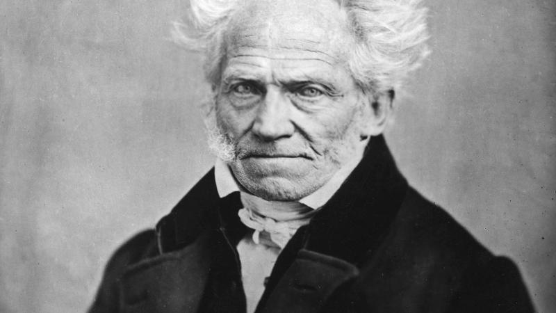 Schopenhauer in a dark suit and white shirt, with fluffy white hair fringing a bald head
