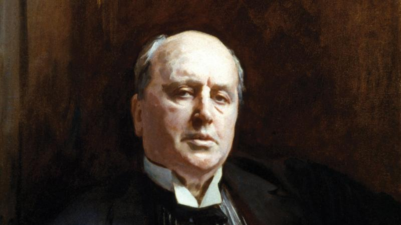 Portrait of Henry James in a black tuxedo