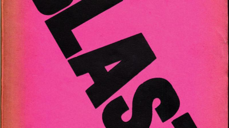 "Magazine cover of Blast, with a hot pink background with ""BLAST"" in black block letters typed in a diagonal from left to right"