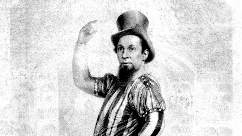 Black and white advertisement for a comedian's show, with a man dressed comically as Uncle Sam.