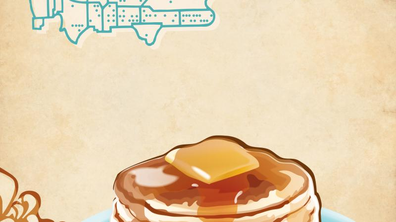Color poster advertising different types of pancakes, with a stylized image of the United States in the top left corner.