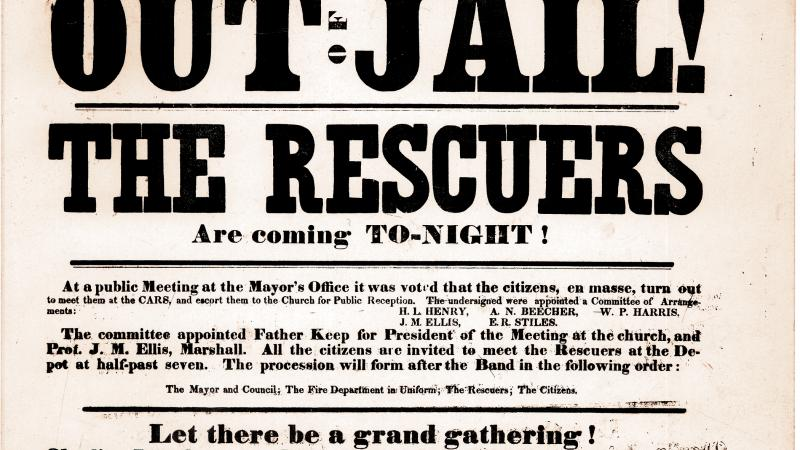 Town notice summoning citizens to aid in the rescue of a fugitive slave.
