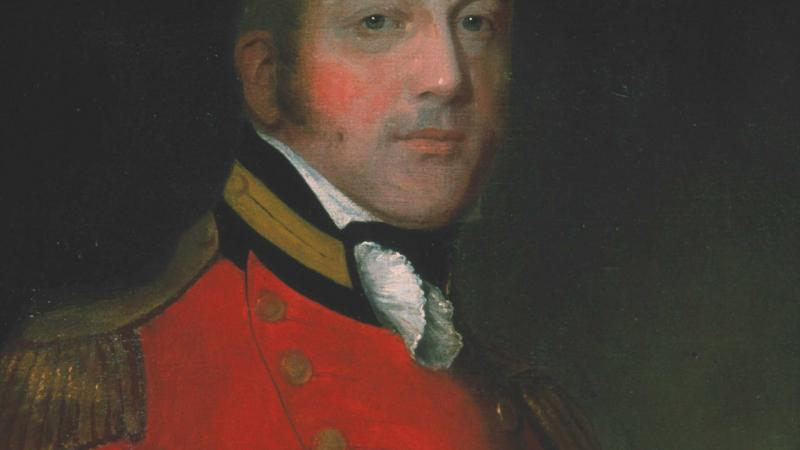 Painting of Thomas Pearson wearing a red military coat.