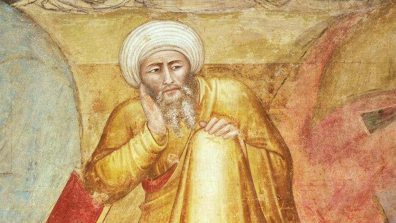 Illustration of Avorroes in a golden robe and white turban, contemplating something with his palm on his chin.