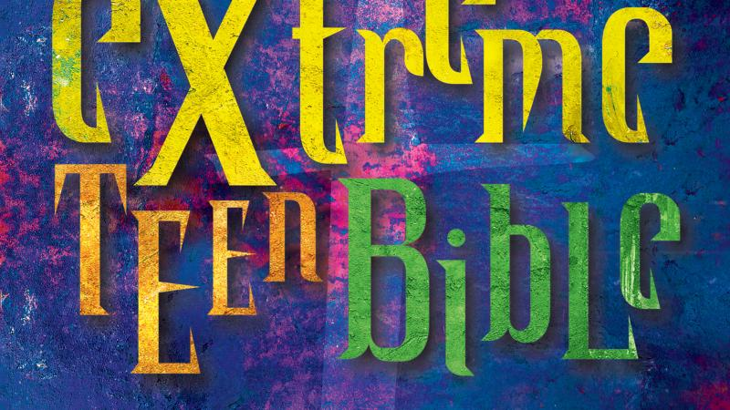 "Colorful cover of the ""Extreme Teen Bible."""