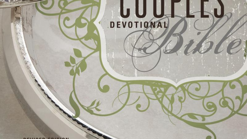 "Stylized cover of the ""Couples' Devotional Bible."""