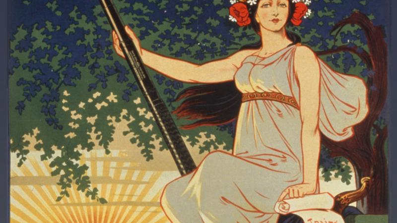 Illustrated advertisement of a woman in a toga holding a spear-shaped fountain pen.
