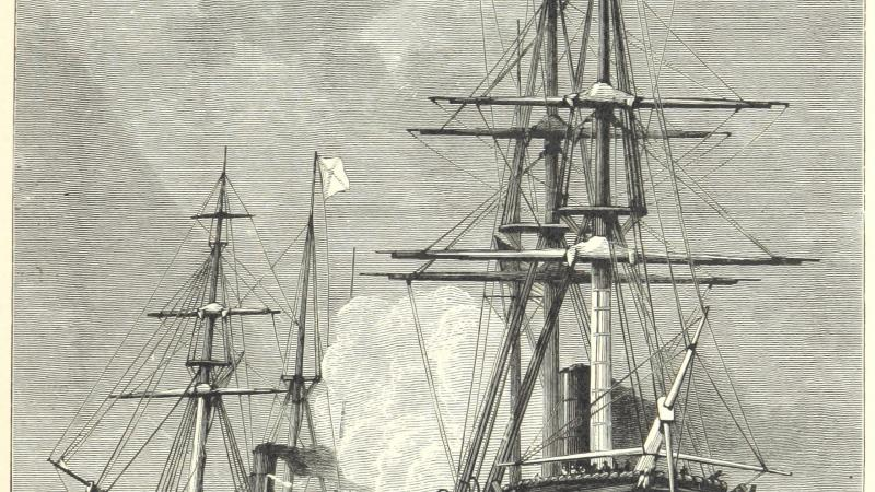 Black and white illustration of one steam / sail ship chasing another on the high seas.