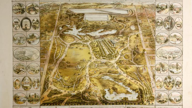 Map of Central Park from 1863, an overhead view.