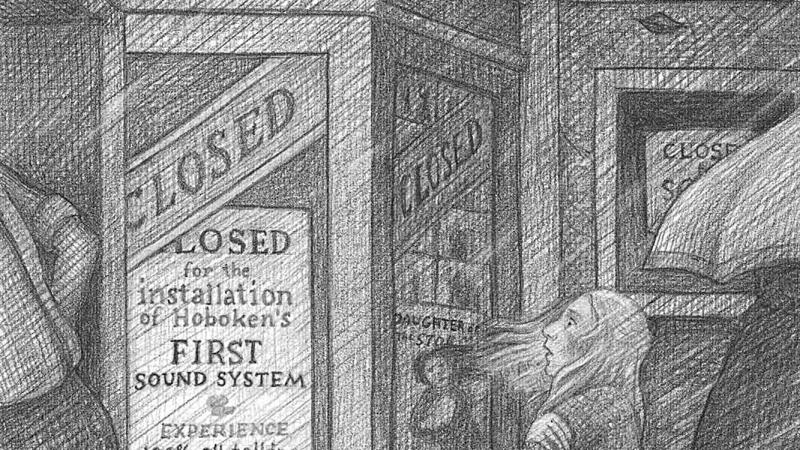 Black and white sketch of a girl standing outside a theater, looking at its signage. She appears to be startled.