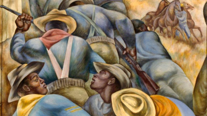 Mural of black soldiers dressed in blue-grey uniforms, fighting.