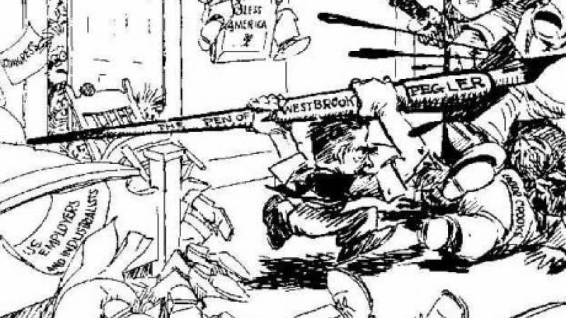 Cartoon sketch of Westbrook Pegler charging other men with a giant pen.