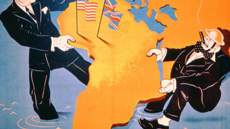 Comical Nazi illustration of Franklin D. Roosevelt and Winston Churchill in a tug of war over the continent of Africa.
