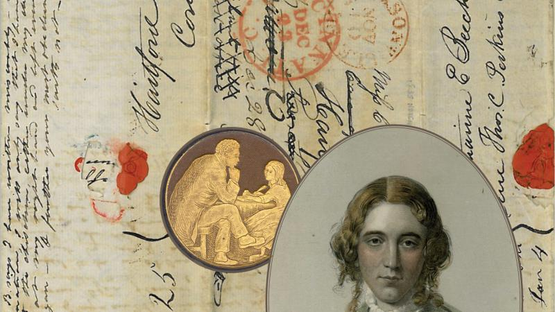 "Image of a ""circular letter"" from the Beecher family, with writing organized around a portrait of Harriet Beecher Stowe."