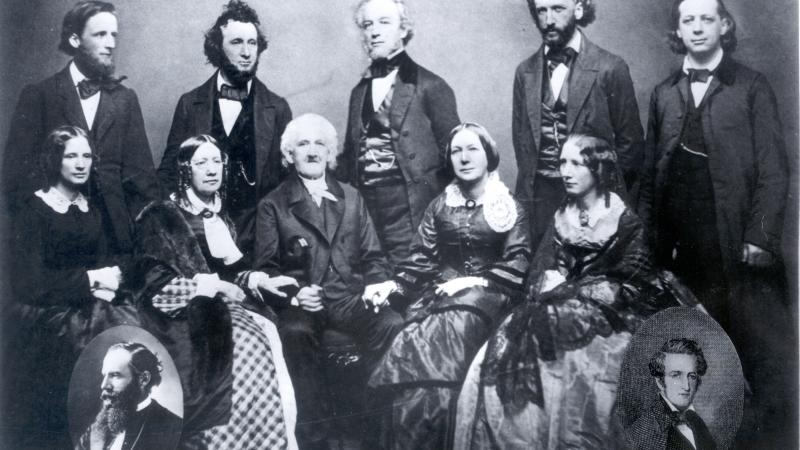 Black and white photo of the entire Beecher family.