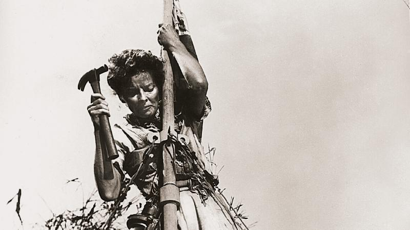 Photo of a woman hanging from a pole with tall grass in the background. She is hammering at an object on the pole while a man walks underneath her.