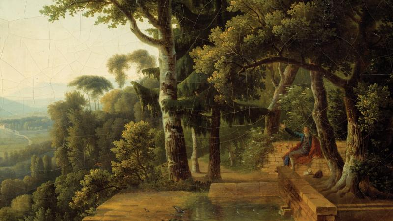 Painting of Jean Jacques Rousseau meditating in a lush park.
