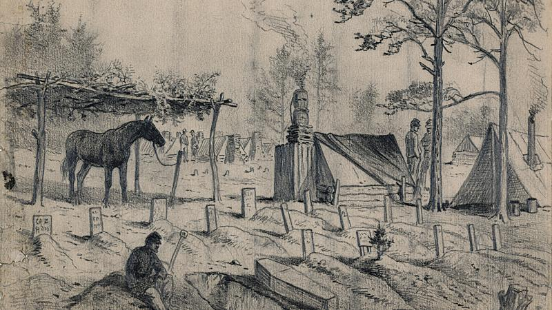 Black and white drawing of an Army graveyard during the Civil War.