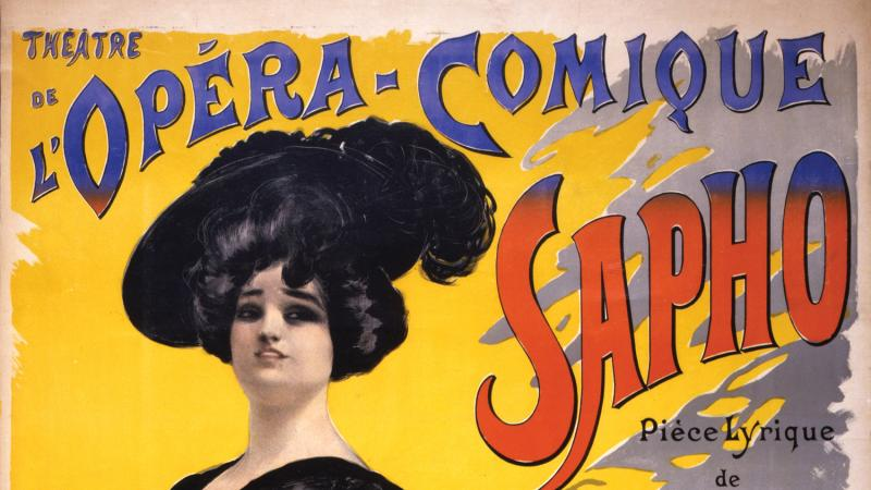 Illustrated advertisement for a comic opera by Emma Calve.