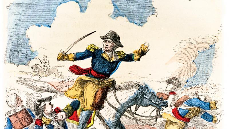 Color illustration of George Washington charging atop a white horse during a battle of the American Revolution.