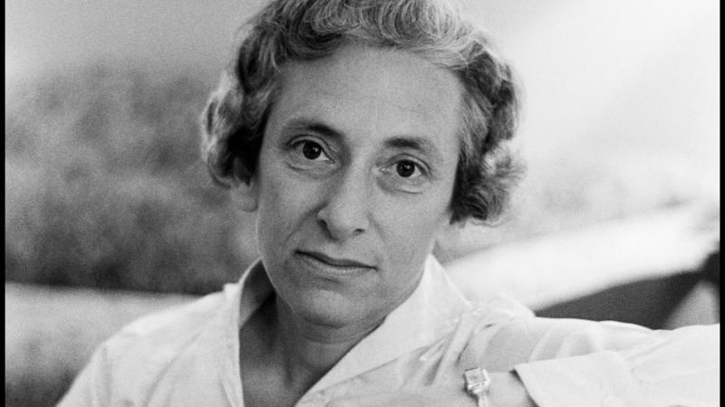 Black and white photo portrait of Barbara Tuchman.