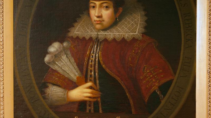 Painting of Pocahontas in the European style.