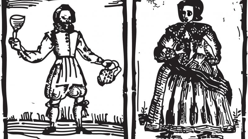 Black and white illustration of two fictional characters, a man and a woman.