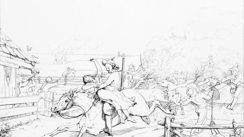 Sketch of horsemen raiding a farm. One of them is carrying off a woman.