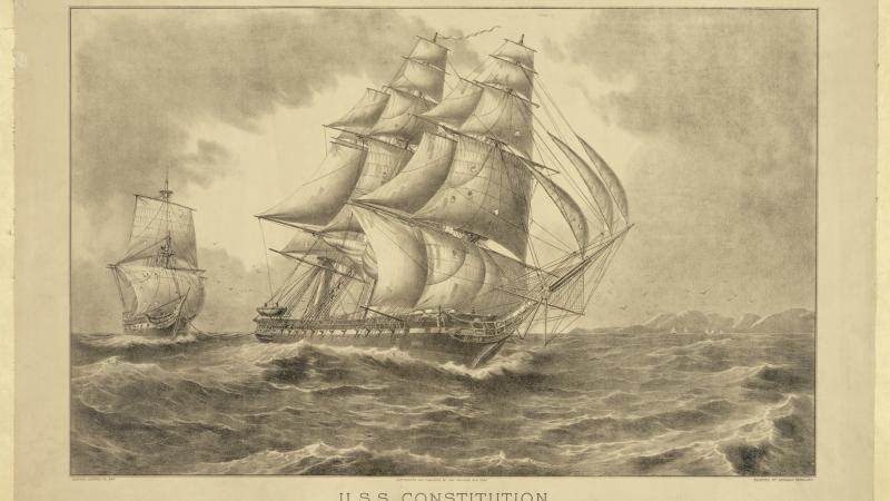 Illustration of the U.S.S Constitution, a sail-powered warship, towing a captured British vessel.