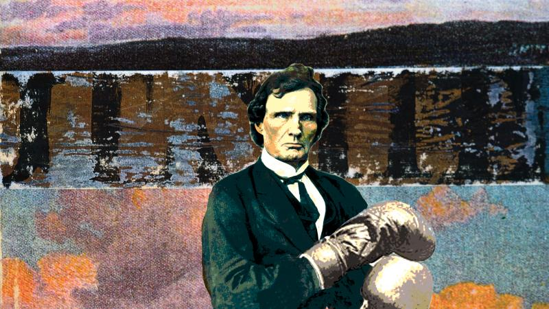Color stylized photo of Thaddeus Stevens standing and wearing boxing gloves.