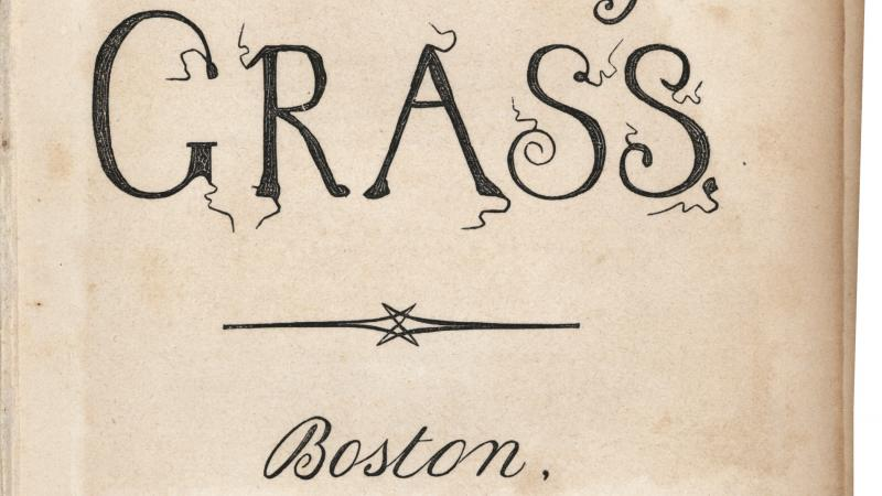"Image of the title page of Walt Whitman's book of poems, ""Leaves of Grass,"" with an embellished typeface."