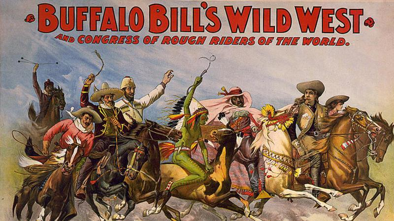 poster for Buffalo Bill's show, depicting cowboys and indians racing on horses together