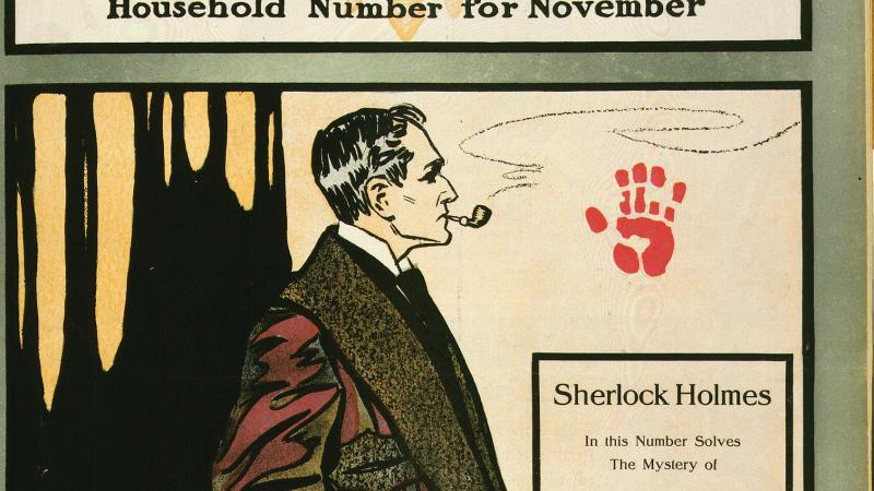 Side view of Sherlock Holmes, in a red smoking jacket, smoking a pipe