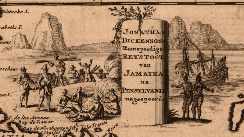 Illustration of European settlers and Native Americans on the coast, along with a map rendering of the coastline