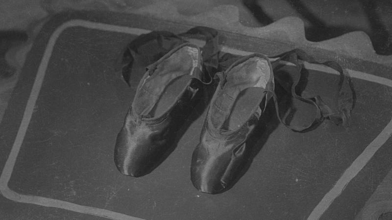 Black and white version of the still from The Red Shoes