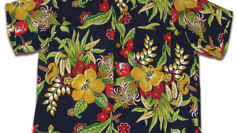 Short sleeved, collared black shirt patterned with tropical flowers and leaves