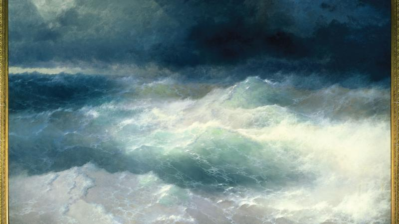 Painting of waves at sea