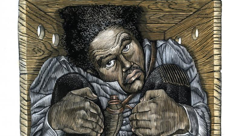 Drawing of a man in a box