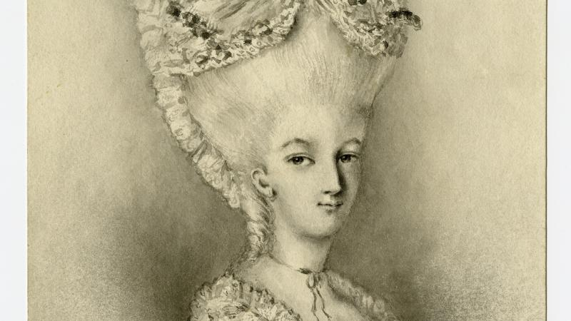 Head and shoulders sketch of Arnold, wearing a towering white, French-style wig and lacy dress