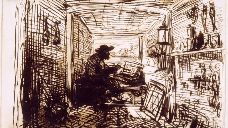 Etching of a man in a hat, sitting and painting, in a narrow room