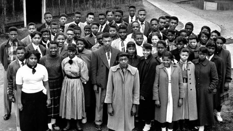 Dorothy E. Davis and fellow students, standing close together in solidarity