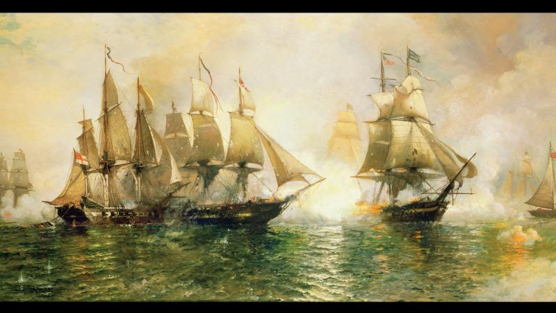Two ships upon choppy blue water, firing cannons at each other