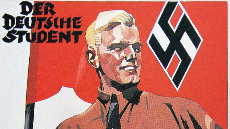 Smiling blonde man, holding a nazi flag