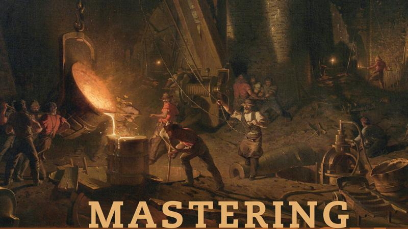 """Mastering Iron"" book cover, showing an illustration of ironworkers at work, surrounded by heavy shadow, rock, and fire"